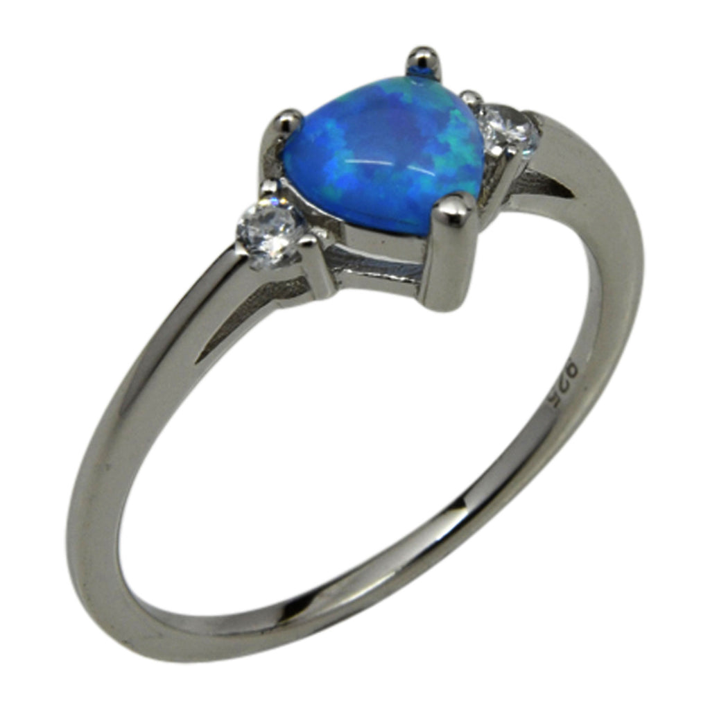 Sterling Silver Blue Lab Opal & CZ Heart Ring Size 4-9