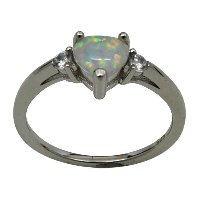 Sterling Silver White Lab Opal & CZ Heart Ring Size 4-9