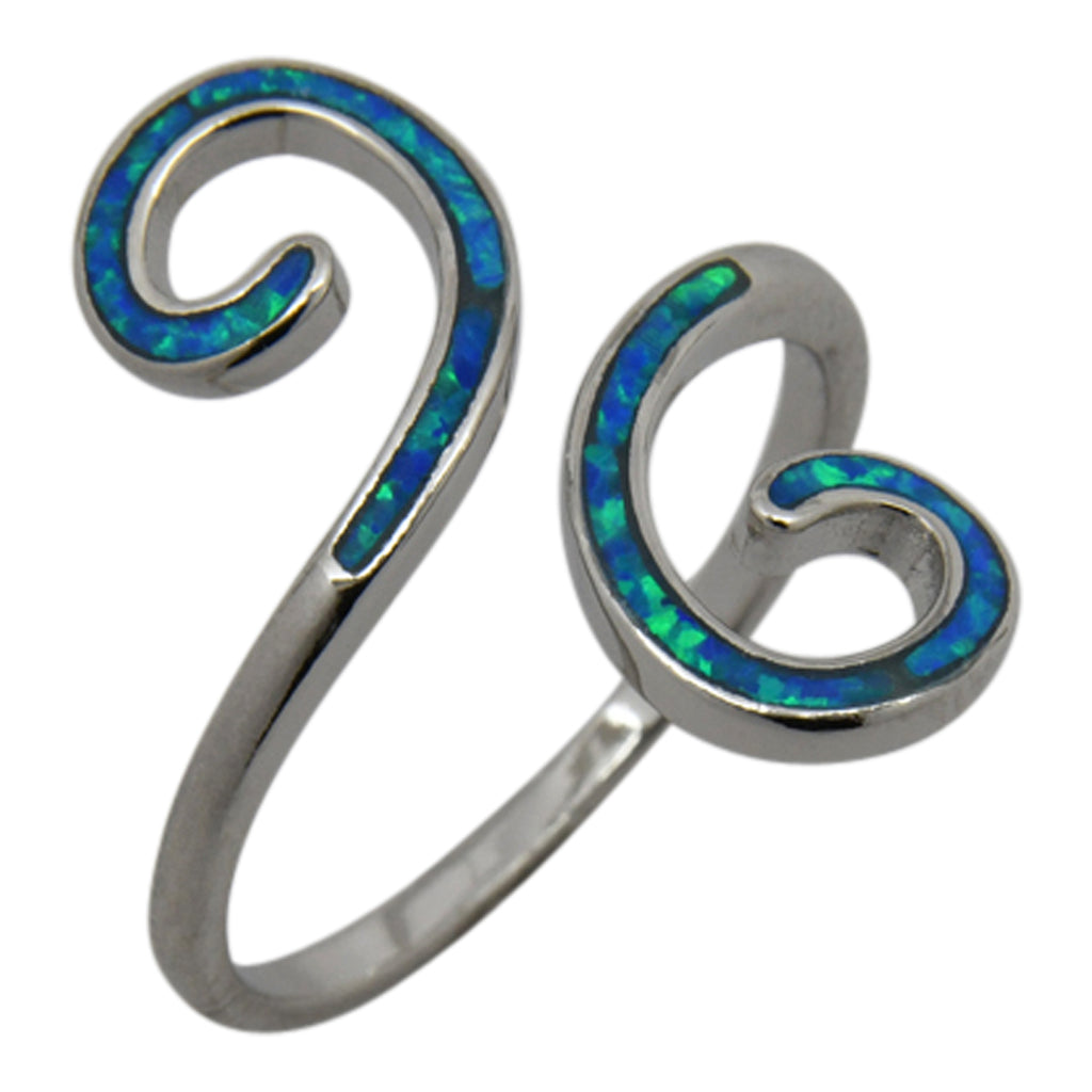 Sterling Silver Blue Lab Opal Double Swirl Ring Size 6-8