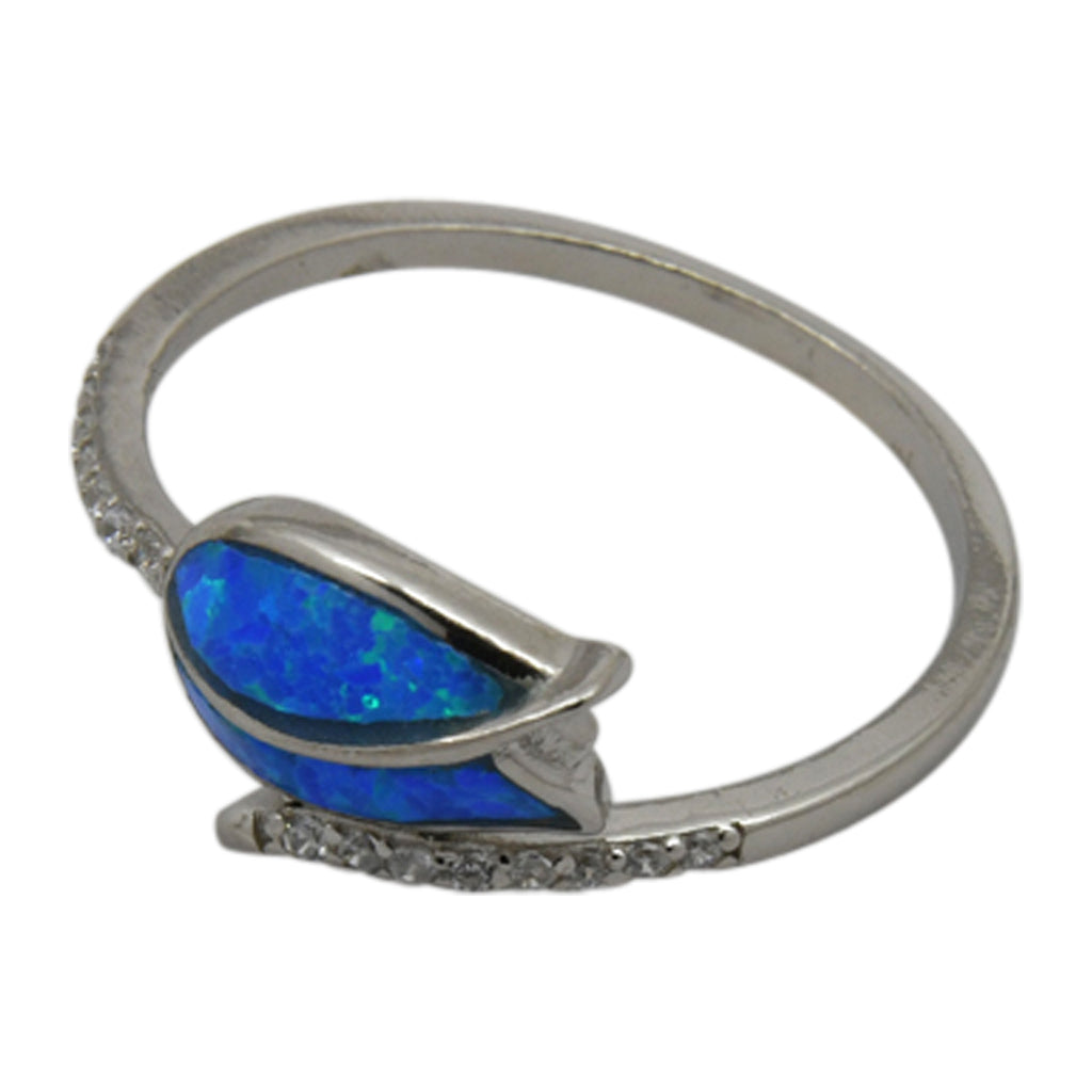 Sterling Silver Blue Lab Opal & CZ Rose Ring 6-8