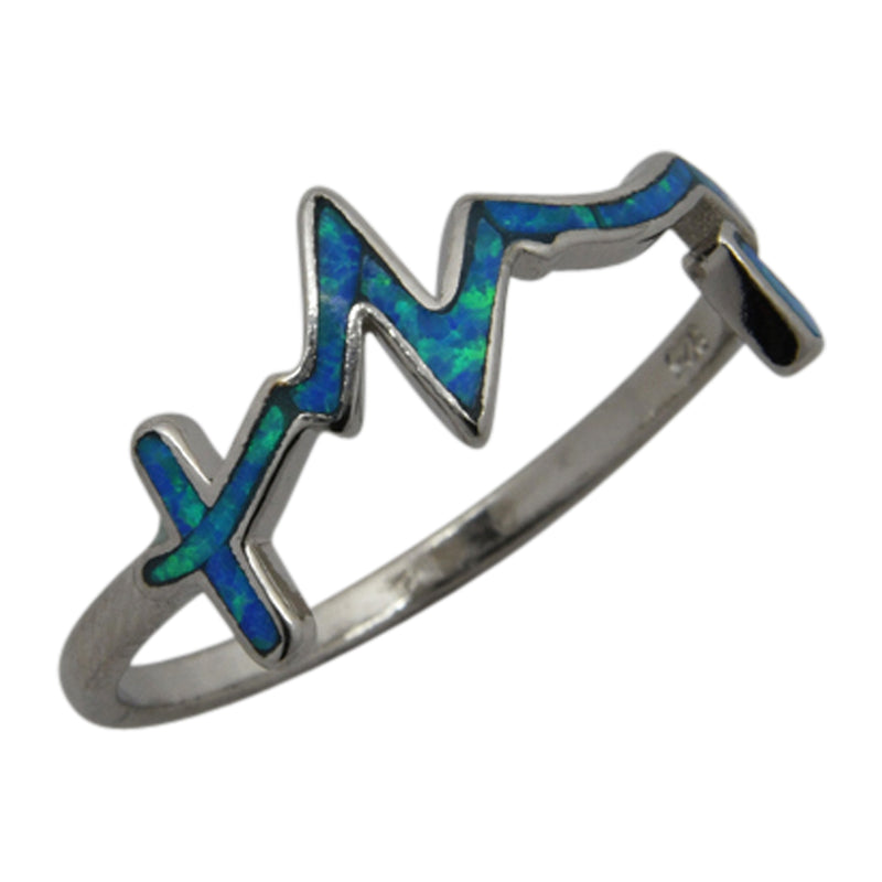 Sterling Silver Blue Lab Opal Heart Beat Ring Size 6-8