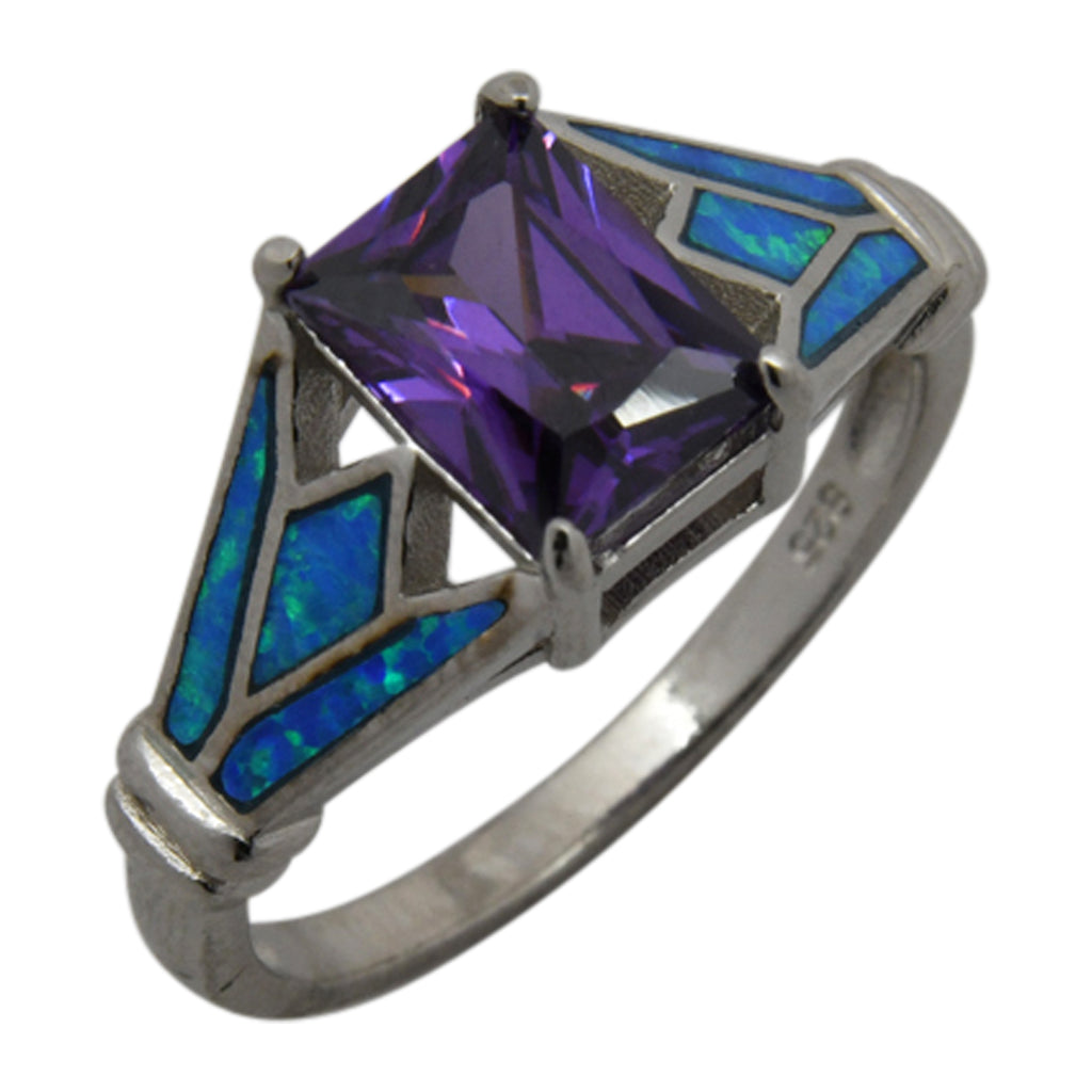 Sterling Silver Blue Lab Opal & Purple CZ Square Ring Size 6-8