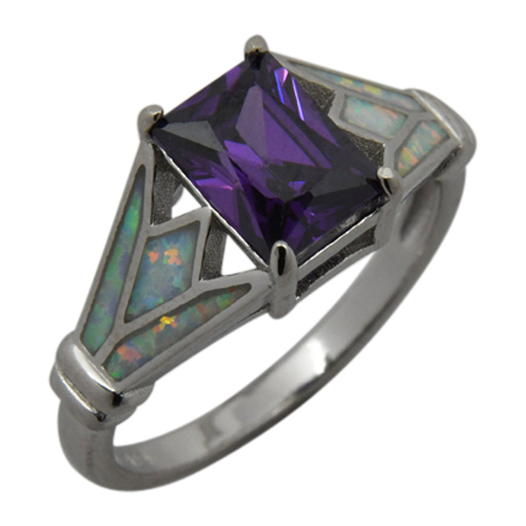 Sterling Silver White Lab Opal & Purple CZ Square Ring Size 6-8