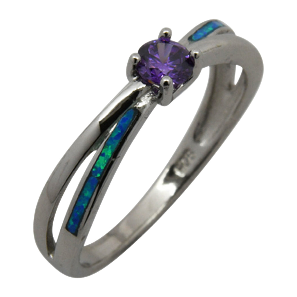 Sterling Silver Blue Lab Opal & Purple CZ Round Ring Size 6-8