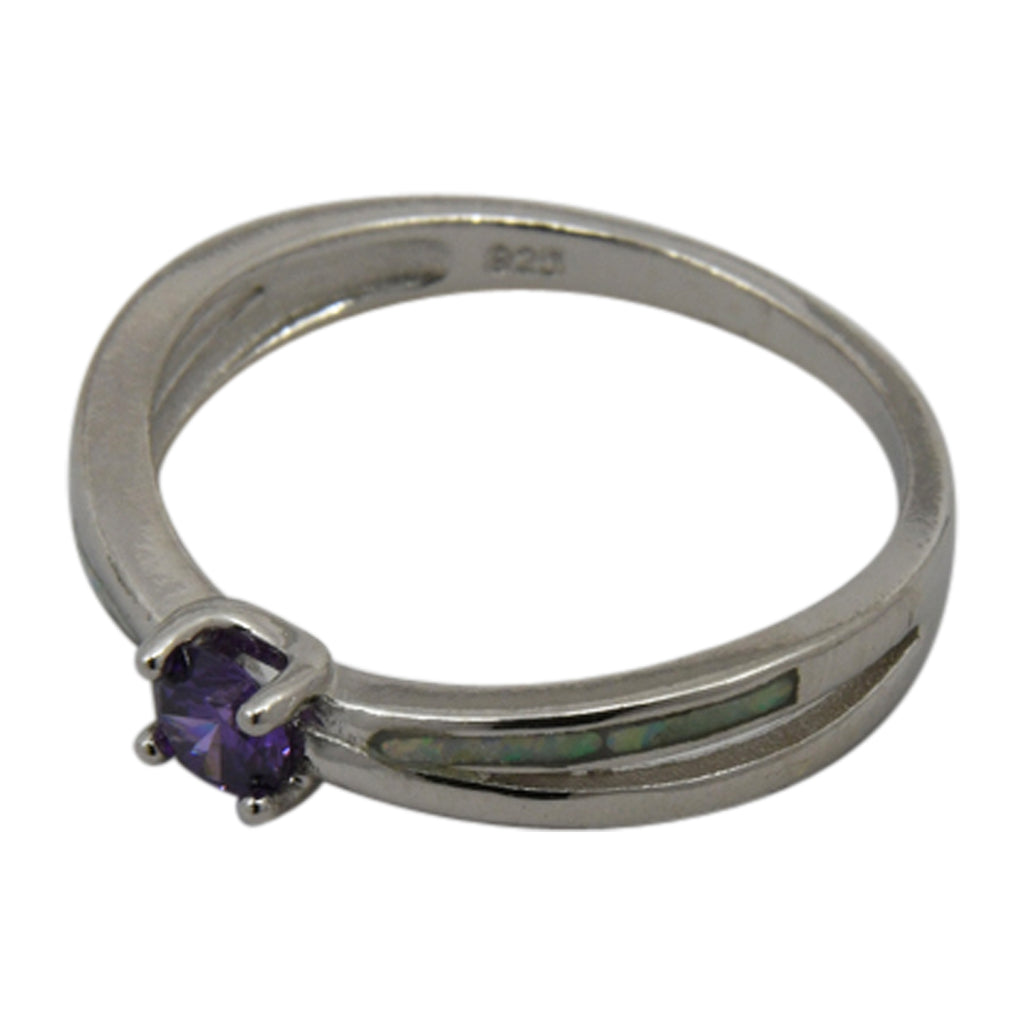 Sterling Silver White Lab Opal & Purple CZ Round Ring Size 6-8