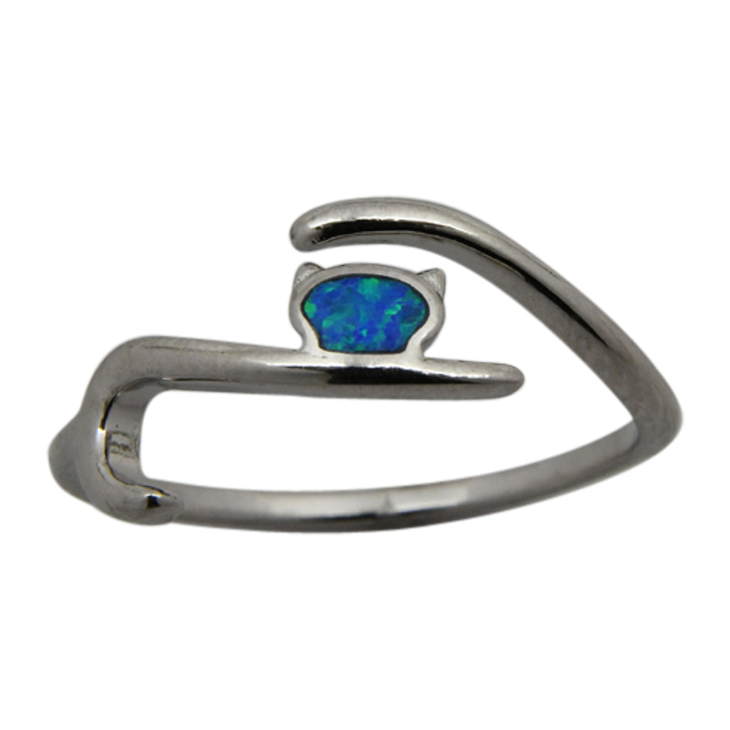 Sterling Silver Blue Lab Opal Cat Ring Size 6-8