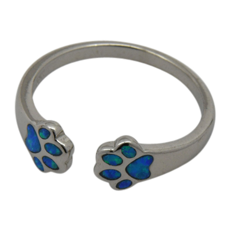 Sterling Silver Blue Lab Opal Double Dog Paw Ring Size 6-8