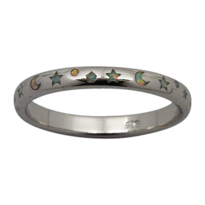 Sterling Silver White Lab Opal Moon & Stars Ring Size 6-8