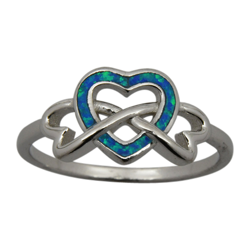 Sterling Silver Blue Lab Opal Heart Ring Size 6-8