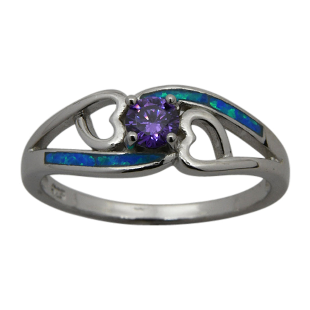 Sterling Silver Blue Lab Opal & Purple Round CZ Heart Ring Size 6-8