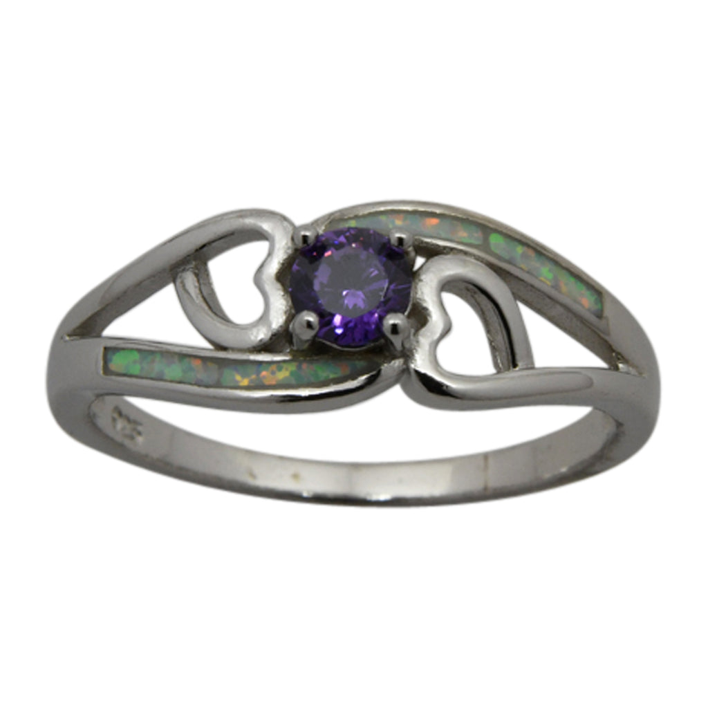 Sterling Silver White Lab Opal & Purple Round CZ Heart Ring Size 6-8