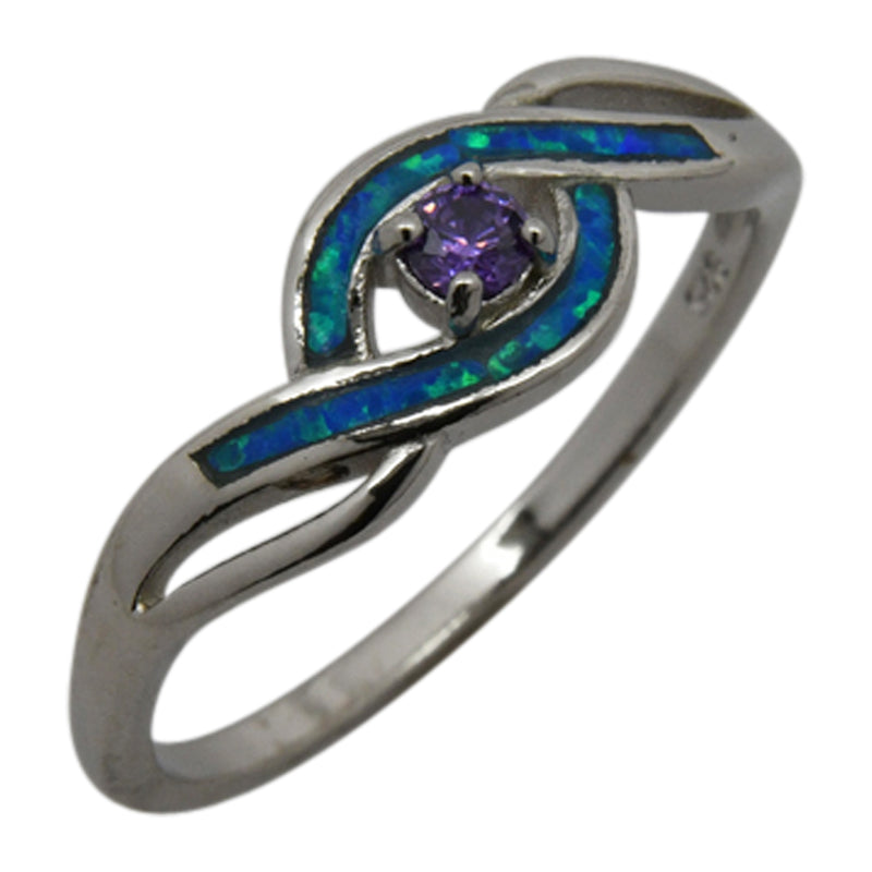 Sterling Silver Blue Lab Opal & Purple Round CZ Ring Size 6-8
