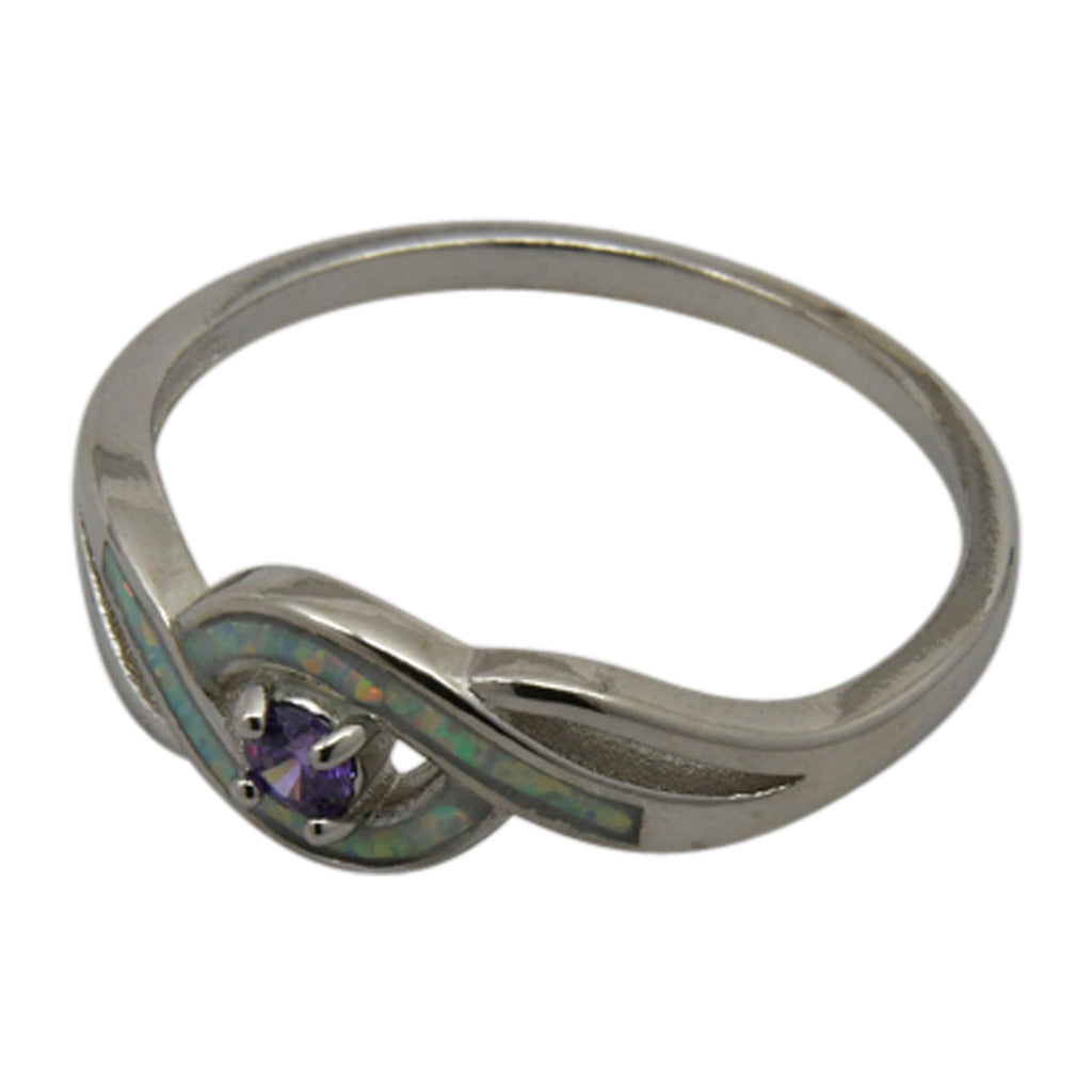 Sterling Silver White Lab Opal & Purple Round CZ Ring Size 6-8