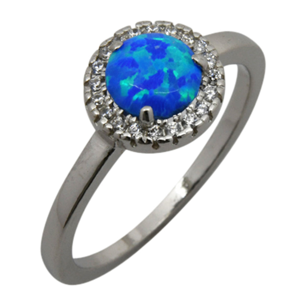 Sterling Silver Blue Lab Opal & CZ Halo Ring Size 5-9
