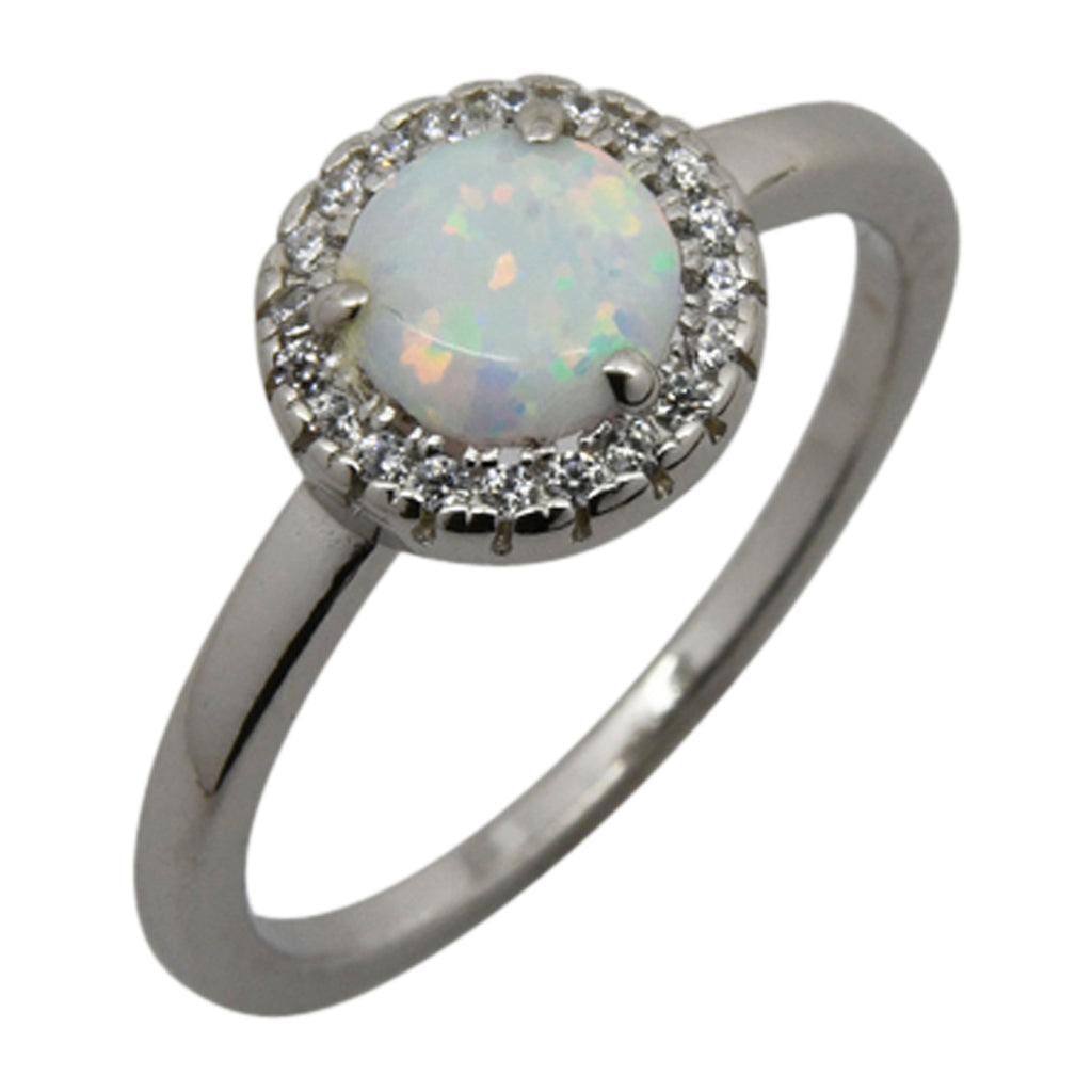 Sterling Silver White Lab Opal & CZ Halo Ring Size 5-9