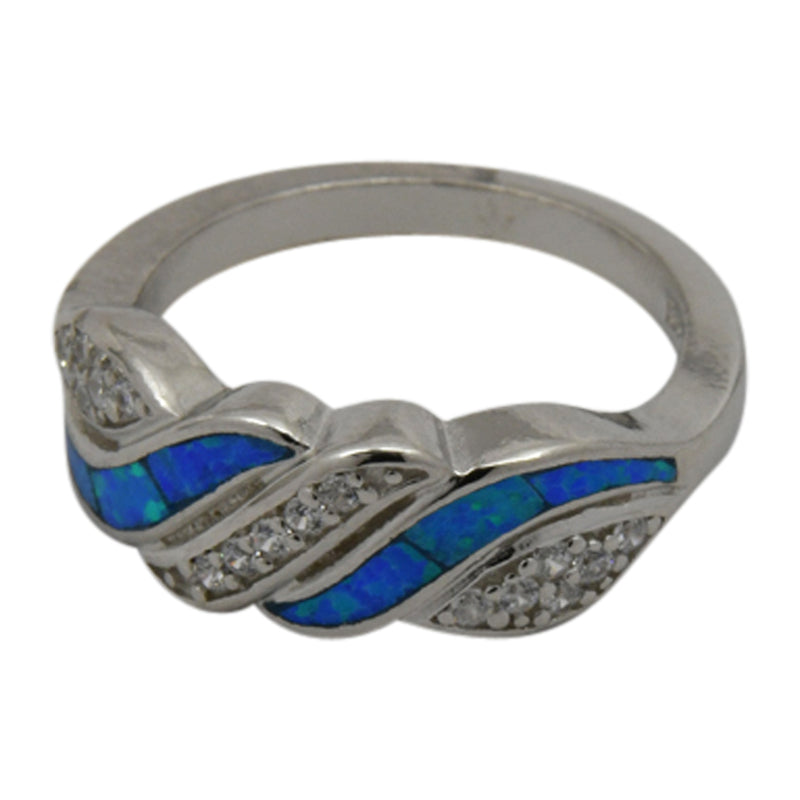 Sterling Silver Blue Lab Opal & CZ Ring Size 5-10