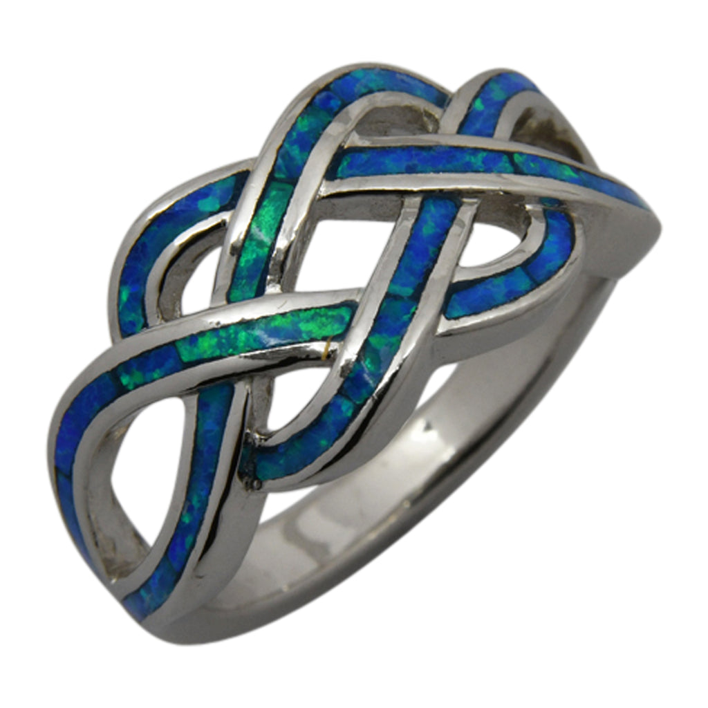 Sterling Silver Blue Lab Opal Celtic Knot Ring Size 5-10