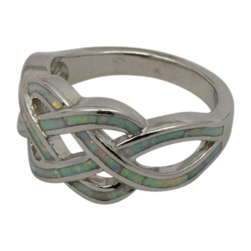 Sterling Silver White Lab Opal Celtic Knot Ring Size 5-10