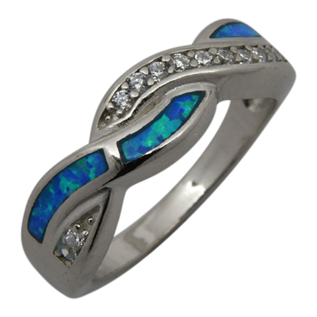 Sterling Silver Blue Lab Opal & CZ Twist Ring Size 5-10