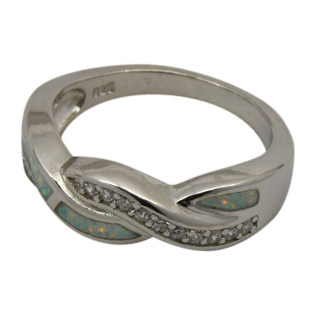 Sterling Silver White Lab Opal & CZ Twist Ring Size 5-10