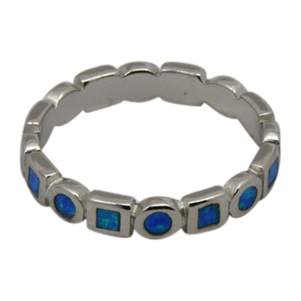 Sterling Silver Blue Lab Opal Square Circle Eternity Band Ring Size 4-10