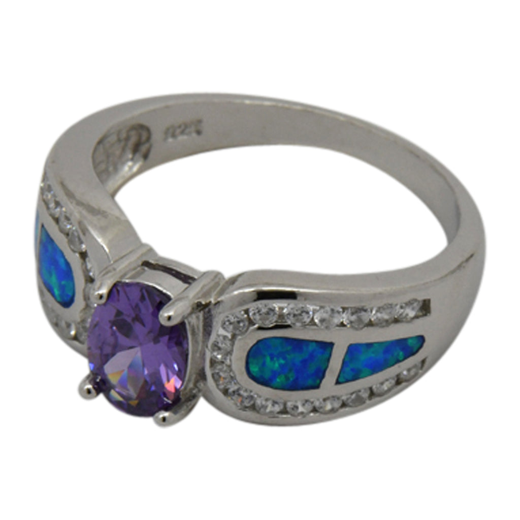 Silver Blue Lab Opal & Purple CZ Ring Size 5-10