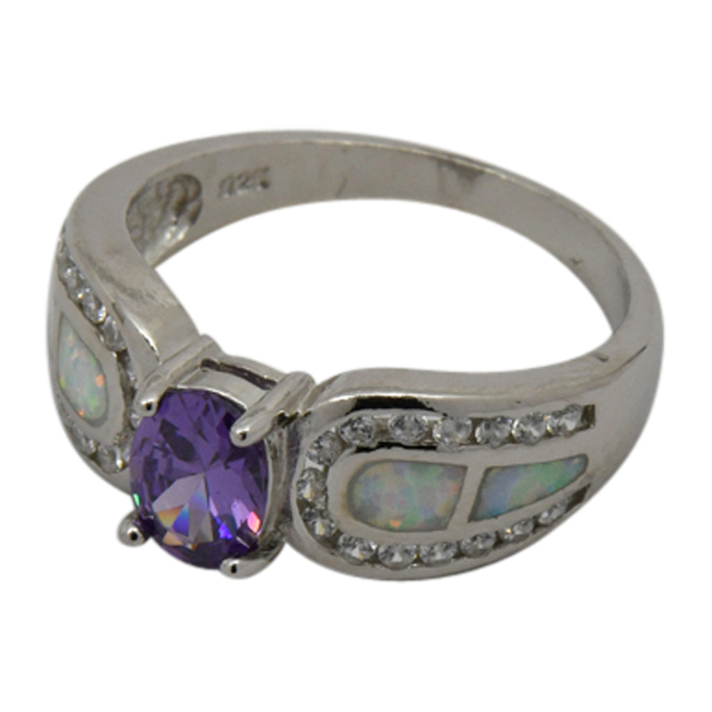 Sterling Silver White Lab Opal & Purple CZ Ring Size 5-10