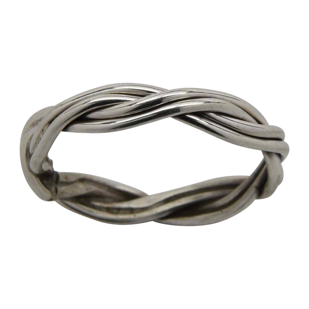 Elaine Tahe Braided 3.5mm Band Ring Sterling Silver Navajo