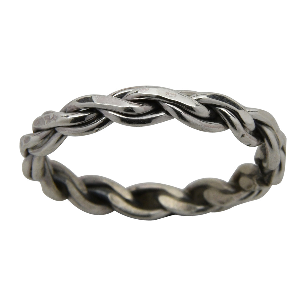 Elaine Tahe Chain Style 3mm Band Ring Sterling Silver Navajo