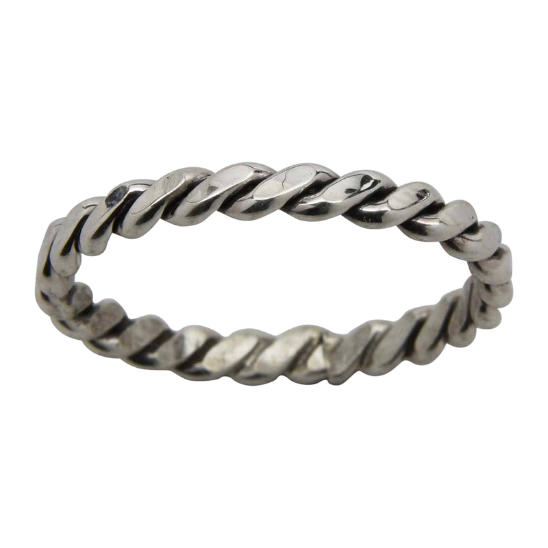 Elaine Tahe Flat Rope Twist 2.5mm Band Ring Sterling Silver Navajo