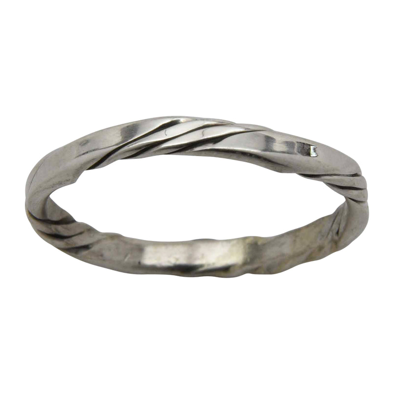 Elaine Tahe Flat Plain & Twist 2.2mm Round Band Ring Sterling Silver Navajo