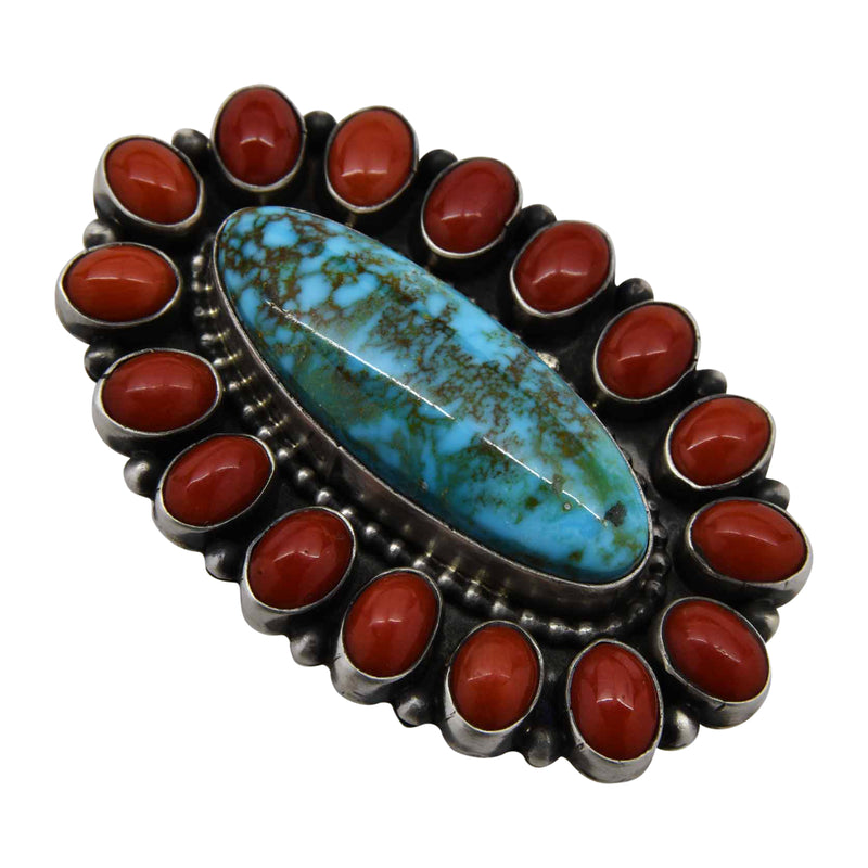 Bea Tom Kingman Turquoise & Coral Oval Cluster Ring Sterling Silver Navajo