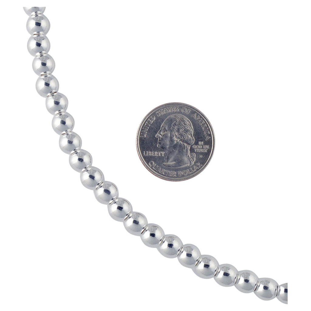 Sterling Silver Loose Hollow Bead Ball 8mm Necklace Chain Italian Italy .925