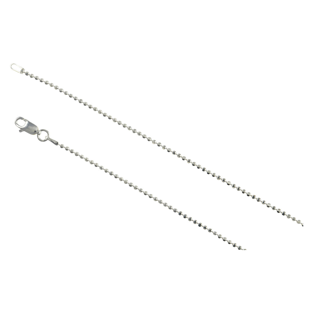 Sterling Silver Diamond Cut Bead Ball 150 1.5mm Necklace Chain Dog Tag Shiny