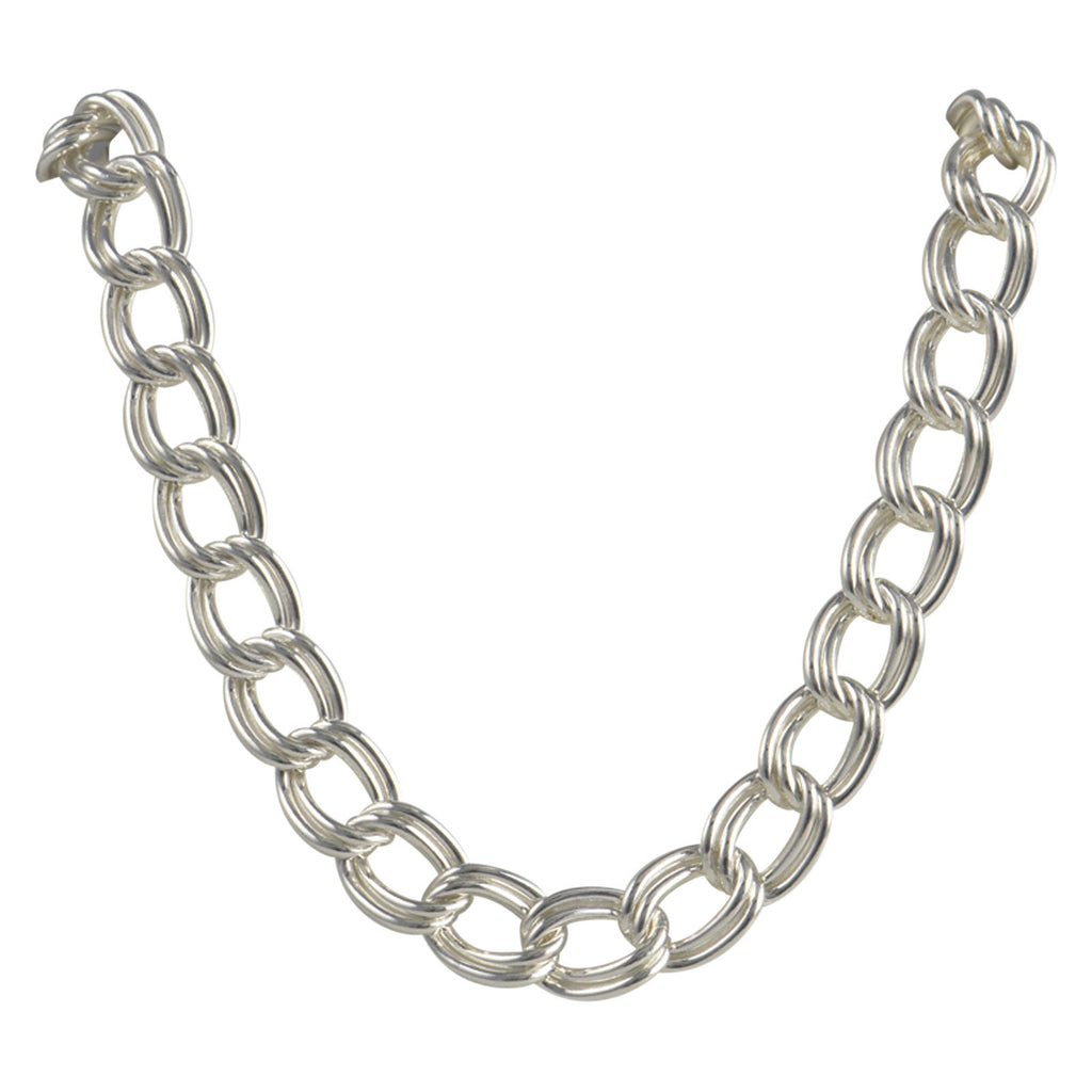 Sterling Silver Charm Double Link Parallelo 100 7mm Bracelet Chain Solid .925