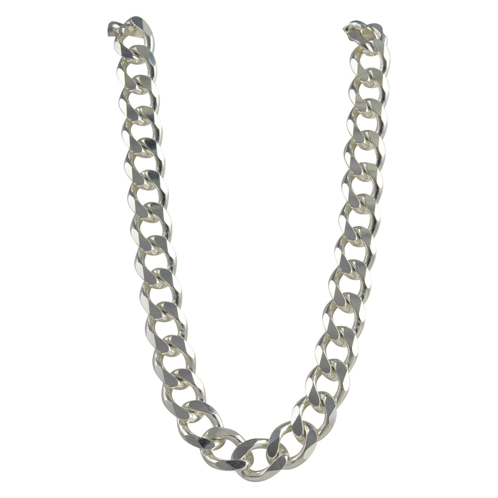 Sterling Silver Curb 450 16mm Necklace Chain Italian Solid .925 Mens Jewelry