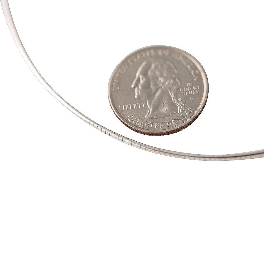 Sterling Silver Round Omega 030 1.5mm Necklace Chain Italian Italy Solid .925