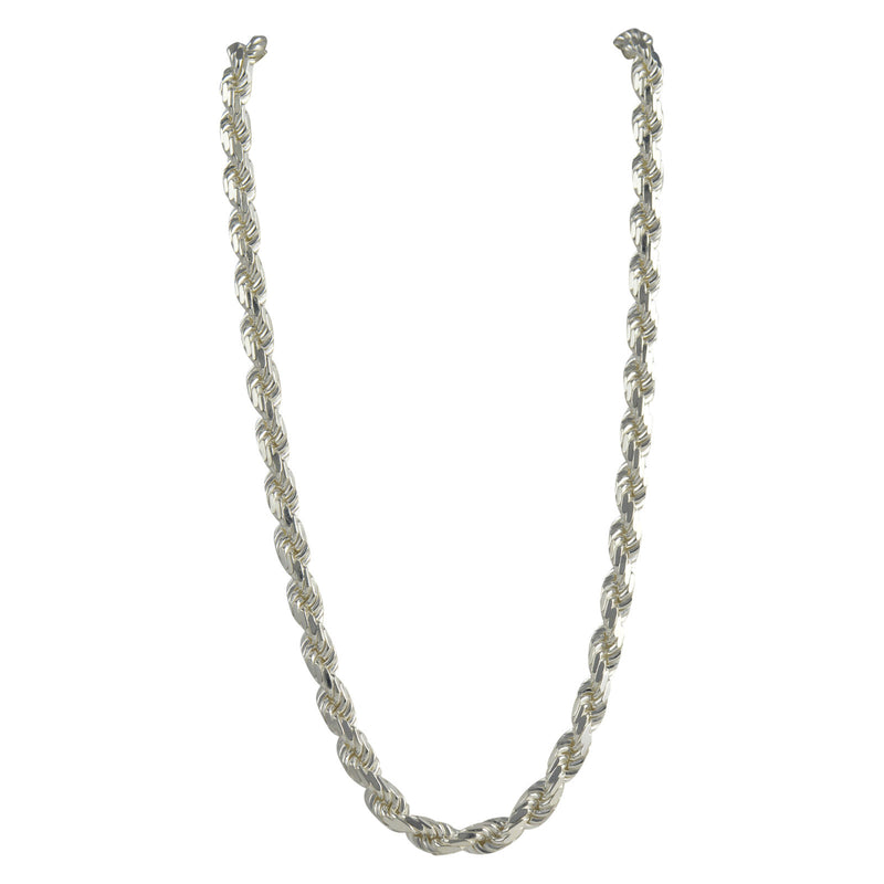 Sterling Silver Diamond Cut Rope 150 7mm Necklace Chain Italian Italy Solid .925