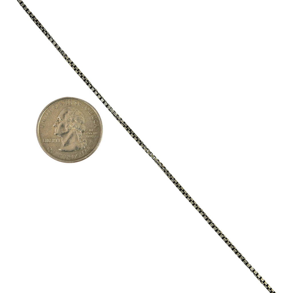 Sterling Silver Gunmetal Oxidized Box 1.5mm Necklace Chain .925 Italy