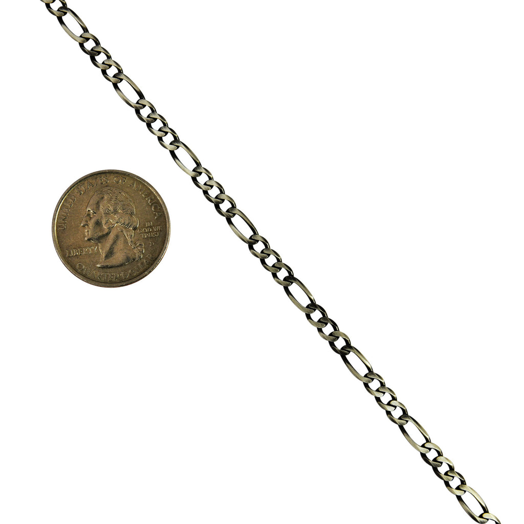 Sterling Silver Gunmetal Oxidized Figaro 4mm Necklace Chain .925 Italy