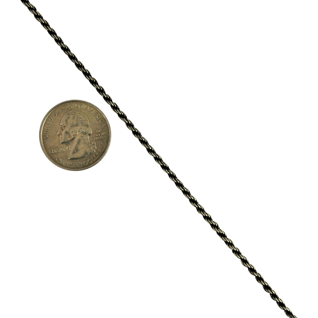 Sterling Silver Gunmetal Oxidized Rope 2.2mm Necklace Chain .925 Italy
