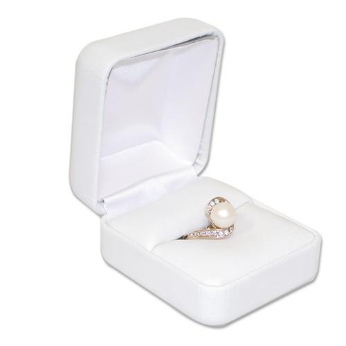 "White Faux Leather Metal Ring Gift Box 1-1/2"" H"