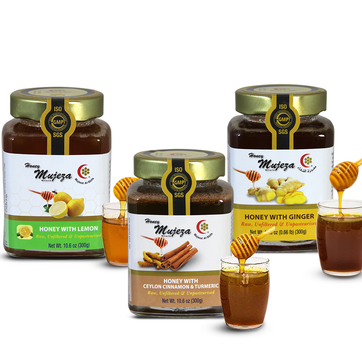Pack of 3 Jars ( Cinnamon Turmeric Honey+ Ginger Honey + Lemon Honey) Each Jar 300gm/10.6 oz.