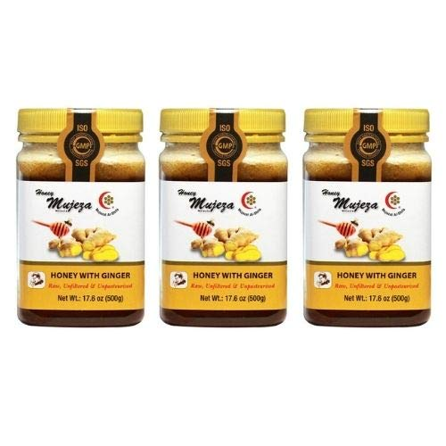Pack of 3 Honey with Fresh Ginger Juice, Unheated Unfiltered Unprocessed 100% Natural Raw Liquid Honey (500g / 17.6oz)