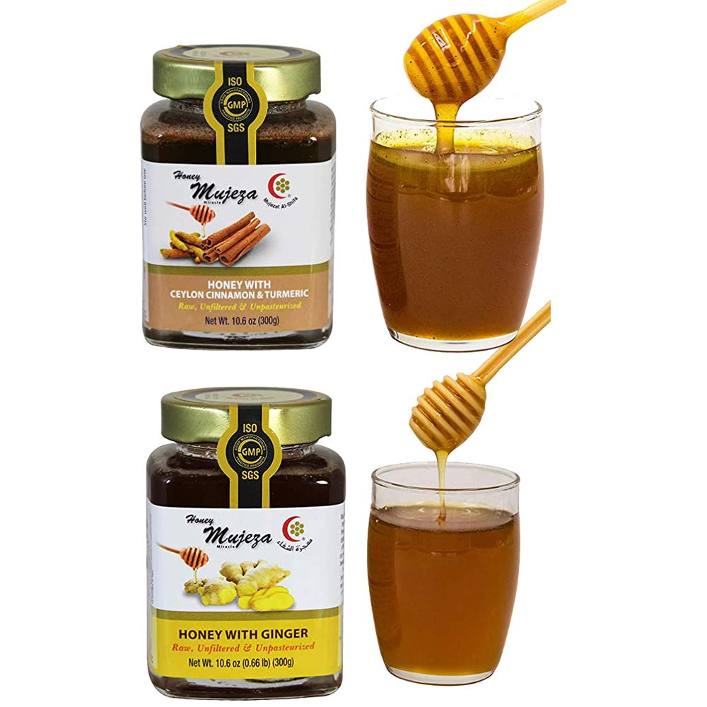 Mujeza Raw Wildflower Honey with Ceylon Cinnamon & Turmeric - Natural Liquid Honey - Gluten Free Honey - Non GMO - Unheated - Unfiltered - Glass jar (500g/17.6oz)