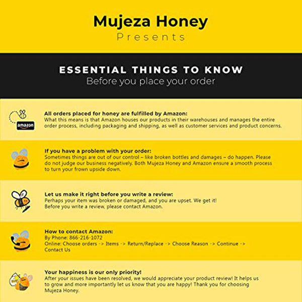 Pack of 4 Mujeza Raw Honey (1 jar Cinnamon Turmeric + 1 jar Ginger honey + 1 jar Black Seed + 1 jar Lemon Honey) Unheated - Unfiltered - Non GMO - Gluten Free - Unpasteurized - Glass Jars 300g / 10.6oz