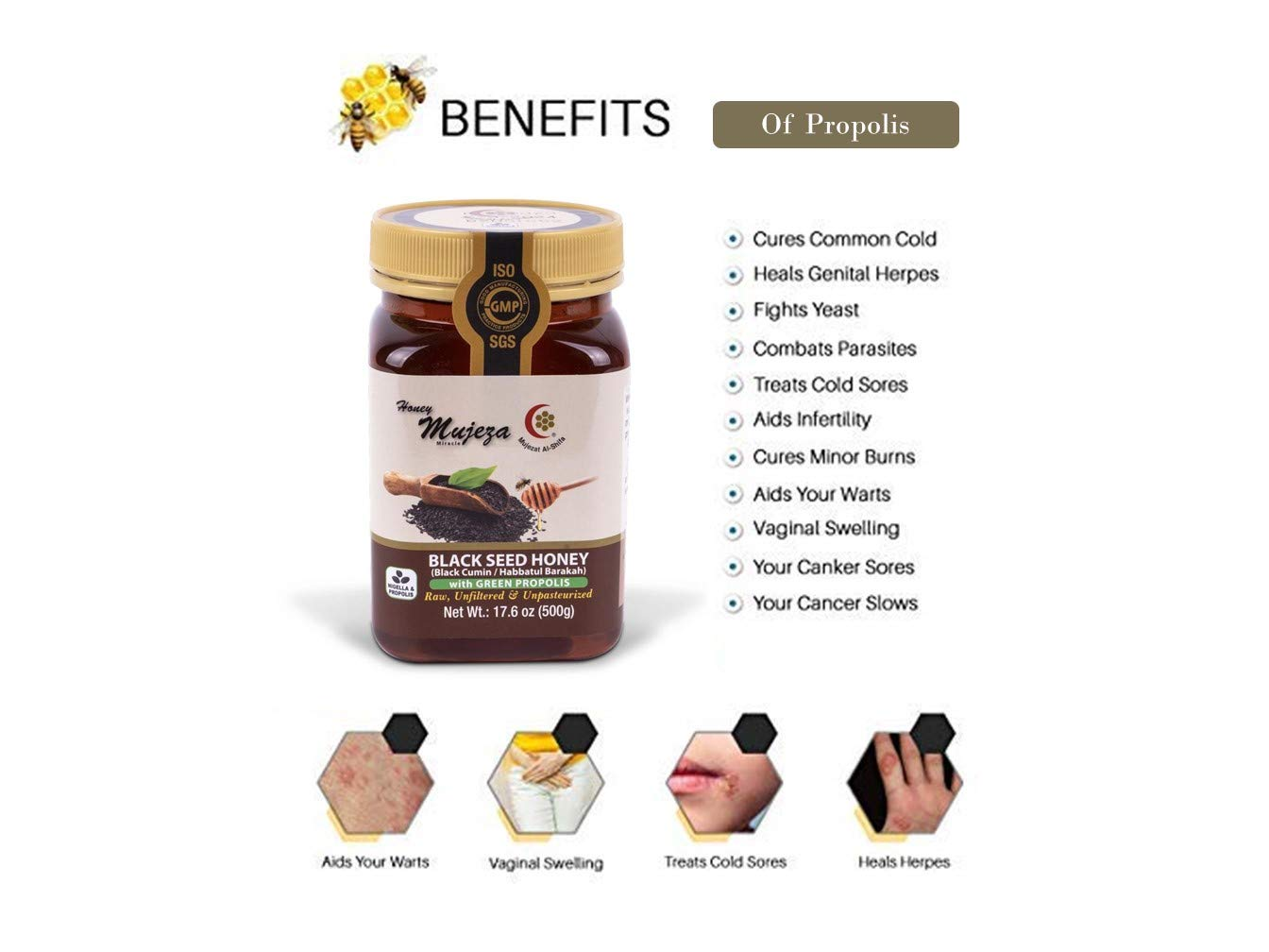 Mujeza Black Seed Honey with Green Propolis - Kosher - Not mixed with oil or powder - Gluten Free - Non GMO - Organic Honey - Immune Booster - 100% Natural Raw Honey (500g /17.6oz)