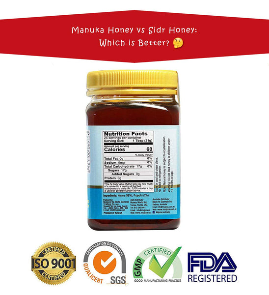 Mountain Sidr Honey (Jujube/ Sader) with Green Propolis, Unheated Unfiltered Unprocessed 100% Natural Raw Honey comes in a Glass Jar