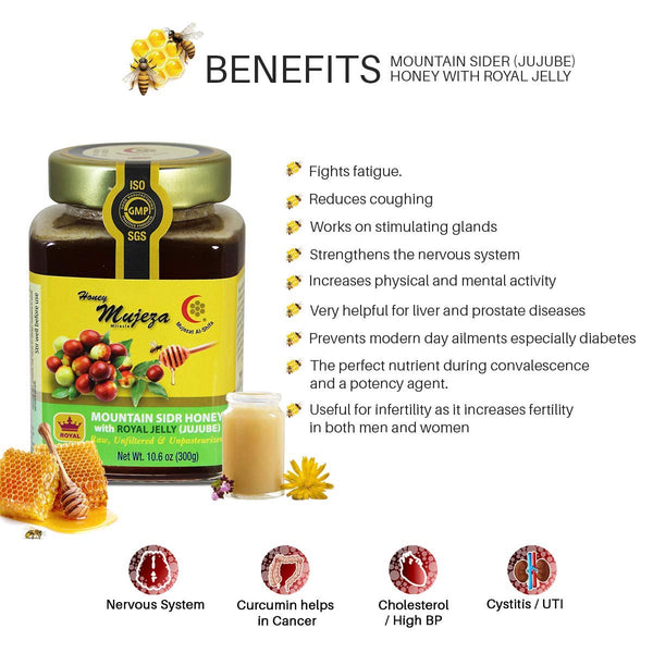 Mountain Sidr Honey (Sader/Jujube) with Royal Jelly, Unheated Unfiltered Unprocessed 100% Natural Raw Honey comes in a Glass Jar