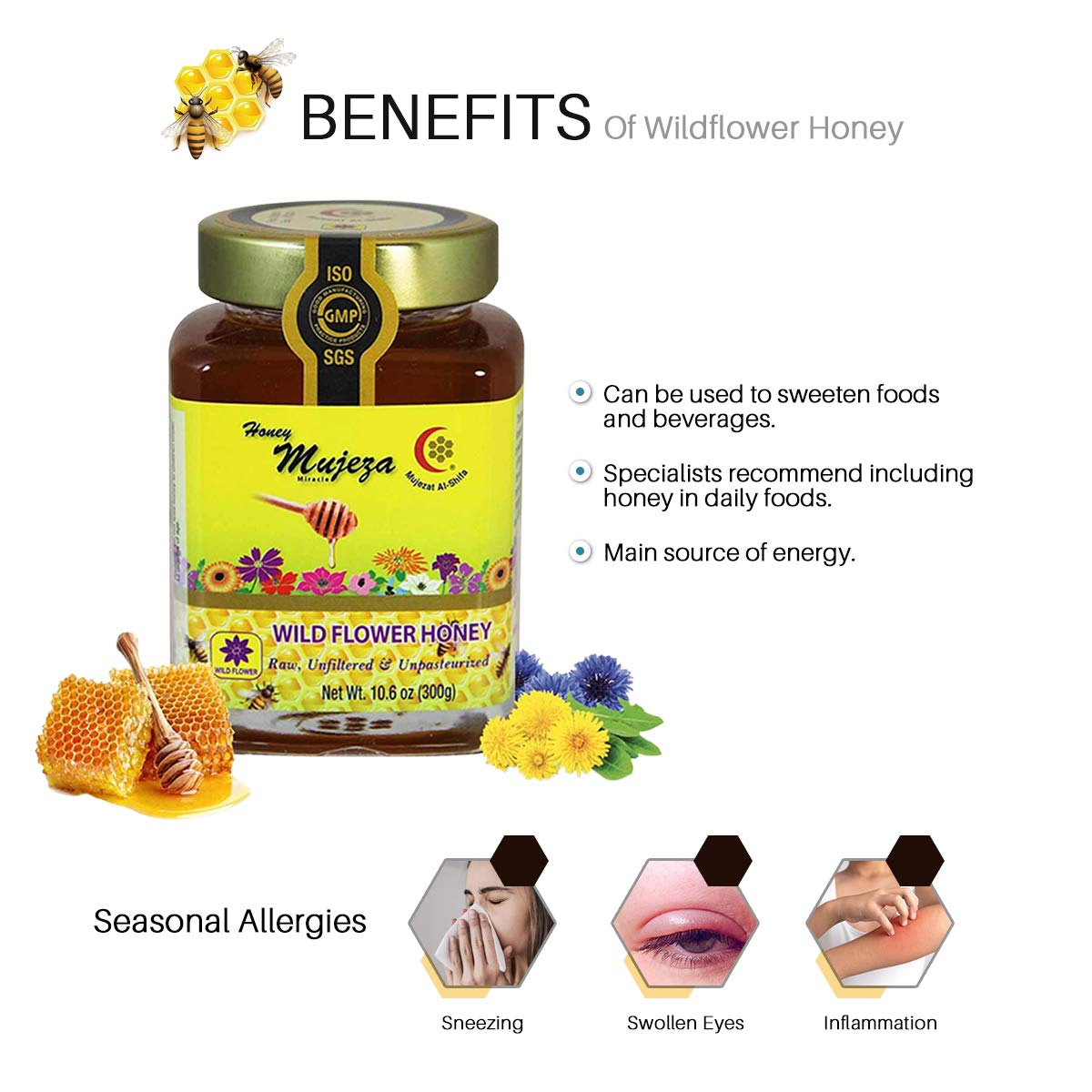 Mujeza Raw Honey 4 Mixed Jars (1 Black Seed Honey + 1 Ginger Honey + 1 Cinnamon & Turmeric Honey + 1 Wildflower Honey) Unheated - Unfiltered - Non GMO - Gluten Free - Unpasteurized - Glass Jars 300g / 10.6oz